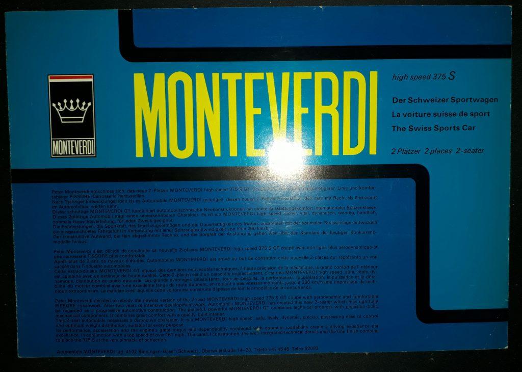 Original Verkaufsprospekt Monteverdi HIGH 375
