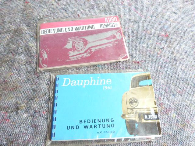 RENAULT DAUPHINE RENAULT R1190 - Bedienungs Anleitung Wartungs Buch !